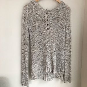 Free People Grey Knit Hooded Sweater | XS